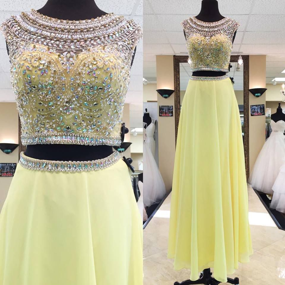 Sparkly beaded prom dressesyellow chiffon pieces prom