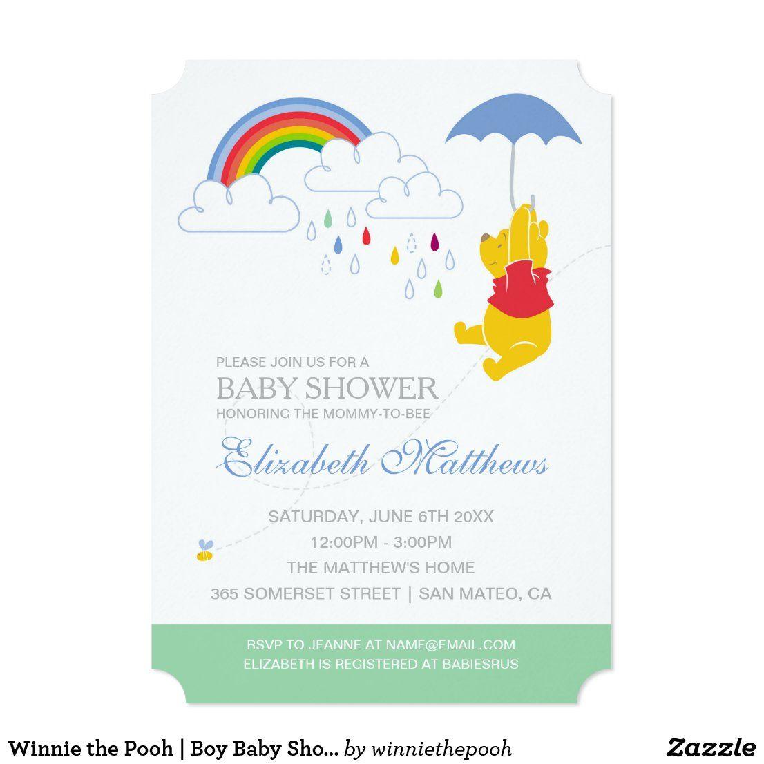 Winnie the Pooh | Boy Baby Shower Invitation | Zazzle.com