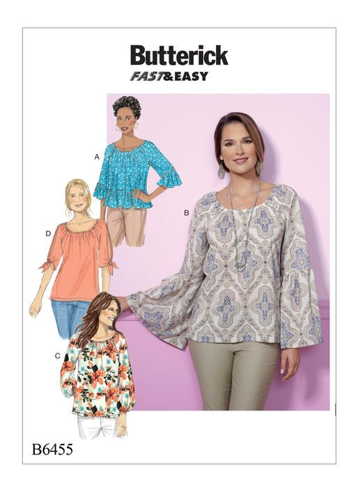 Peasant top sewing pattern from Butterick. B6455 Misses\' Gathered ...
