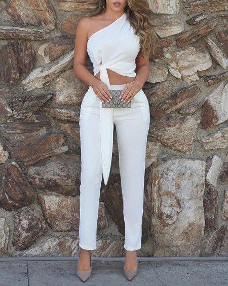 Solid Straight Across Top & Harem Pants Sets