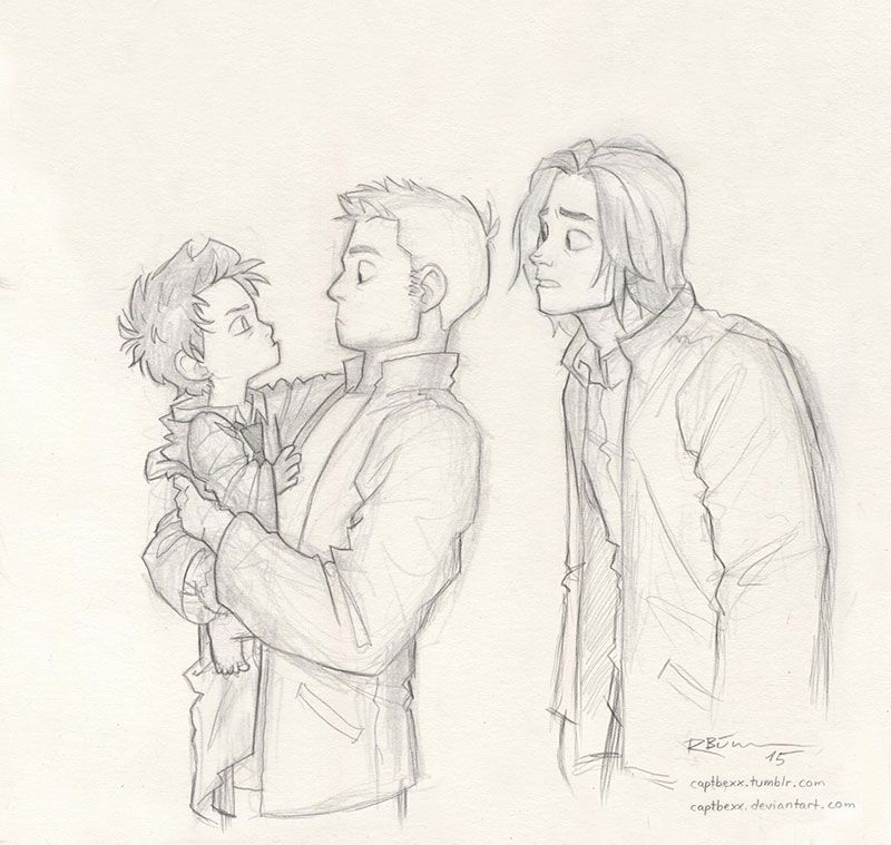 I love de-aging people, so here's de-aged Cas  ^-^ And Dean and Sam