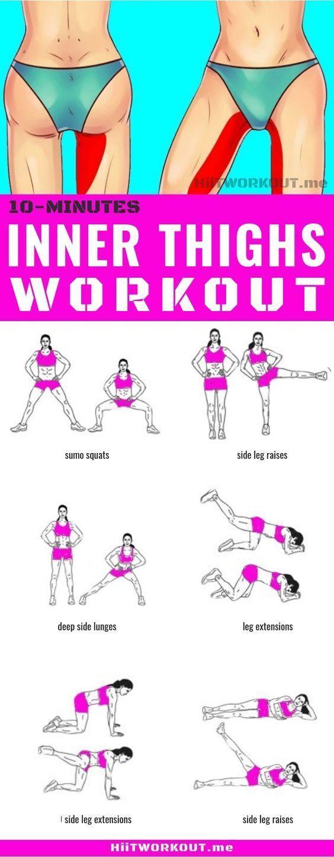 Ein 10-minütiges inneres Oberschenkeltraining für zu Hause. Die Übungen, die ...   - Fitness - #10mi...