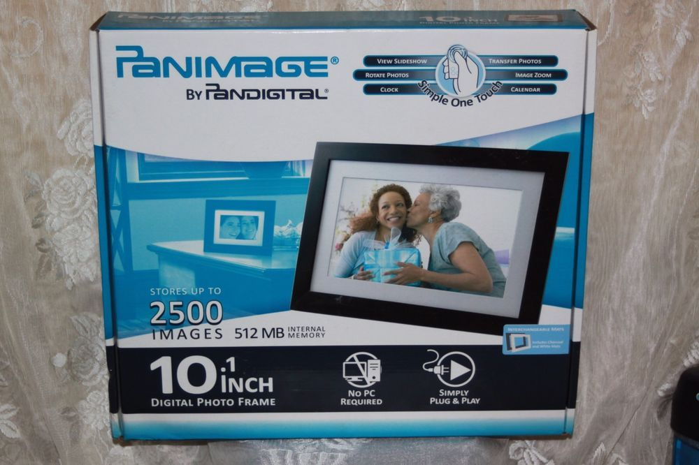 NIB PANIMAGE 10.1 inch digital photo frame 512 MB STORES 2500 images ...