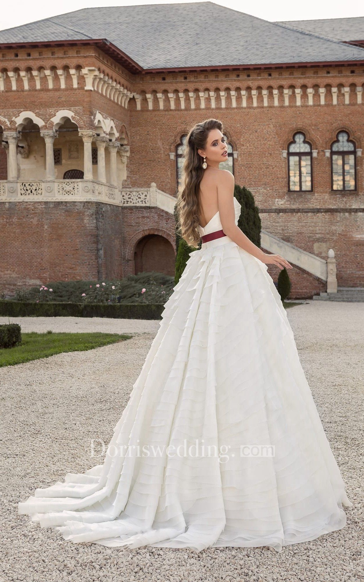 Sweetheart low v back bow dress with cascading ruffles autumn