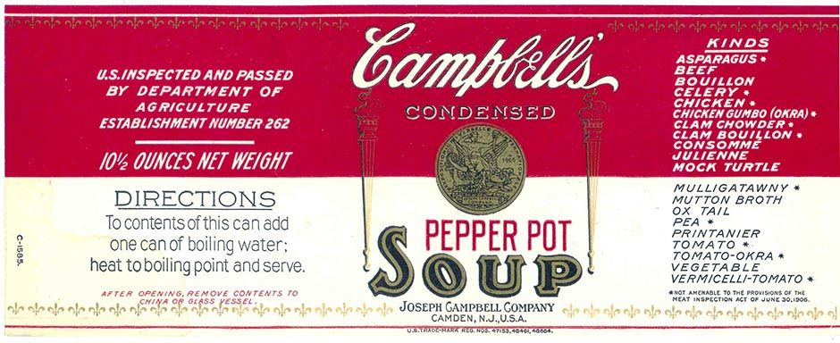 Circa 1914 Pepper Pot Soup Label Courtesy Of Campbell S Stuffed Peppers Chicken Gumbo