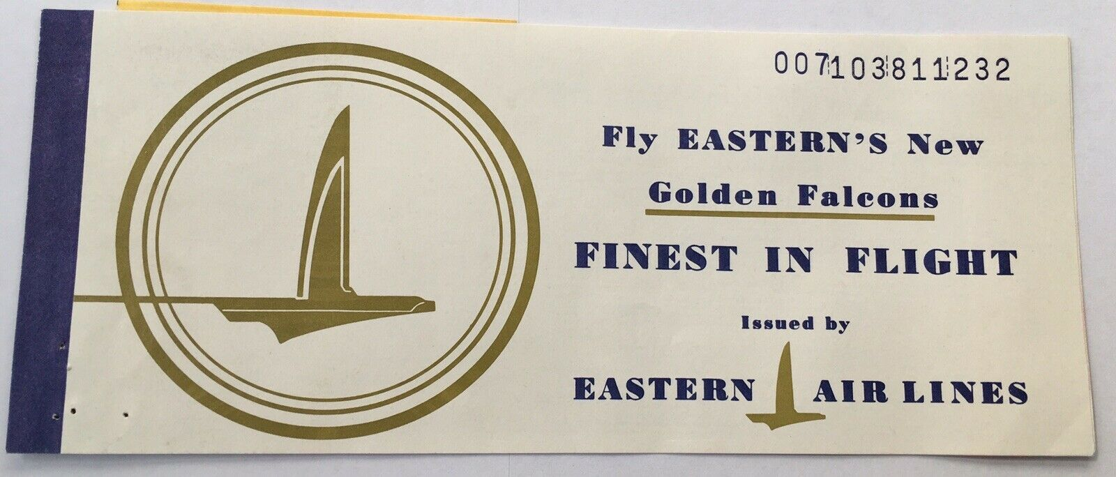 Vtg Eastern Airlines Golden Falcons Ticket From 1962
