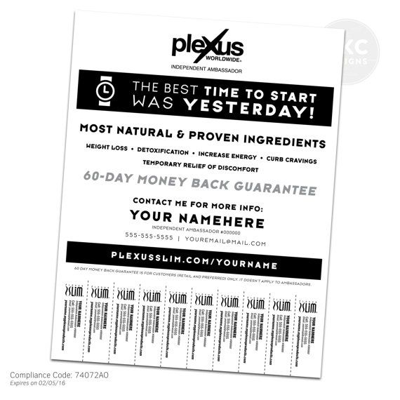 Plexus Black and White Promo Flyer With Tear Off Tabs Digital – Tear off Tabs