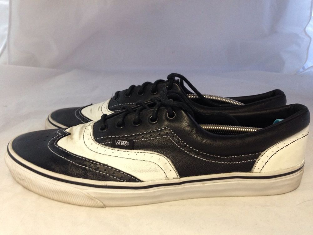 a68cb54c99 Vans Era Wingtip Black White Leather Limited Wedding Formal Edition Vault   Vans  AthleticSneakers