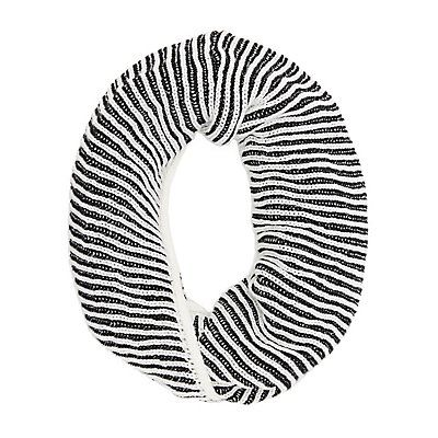 Black Ribbed Two-Tone Infinity Scarf