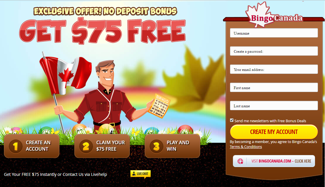 Bingo Canada 75 Free Sign Up Bonus Code Bingocanada Com