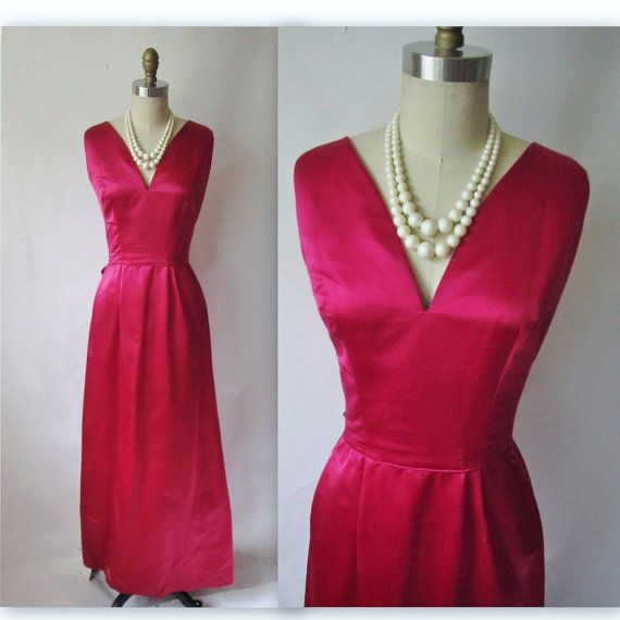 60's Rasberry Satin Gown // Vintage 1960's by TheVintageStudio, $164.00