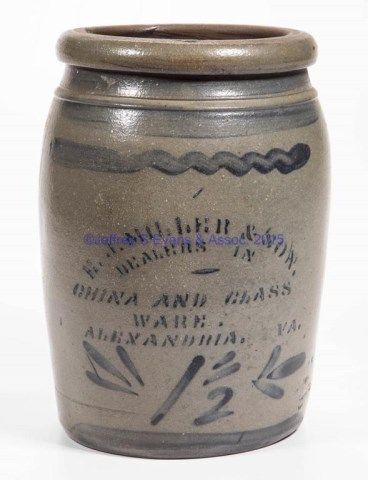 Lot # : 42 - VIRGINIA MERCHANT'S STENCILED STONEWARE JAR,
