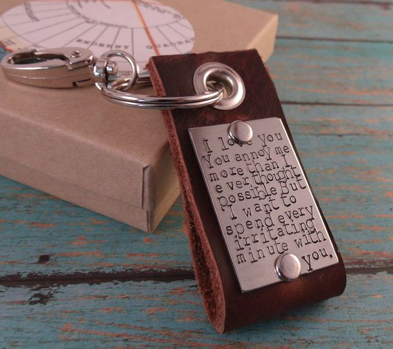 """Love Quotes Leather Key ChainMenFather's by Namedrops on Etsy, $37.00.........I might have to find a more """"loving"""" sentiment, but love this keychain and the fact you can personalize it!"""
