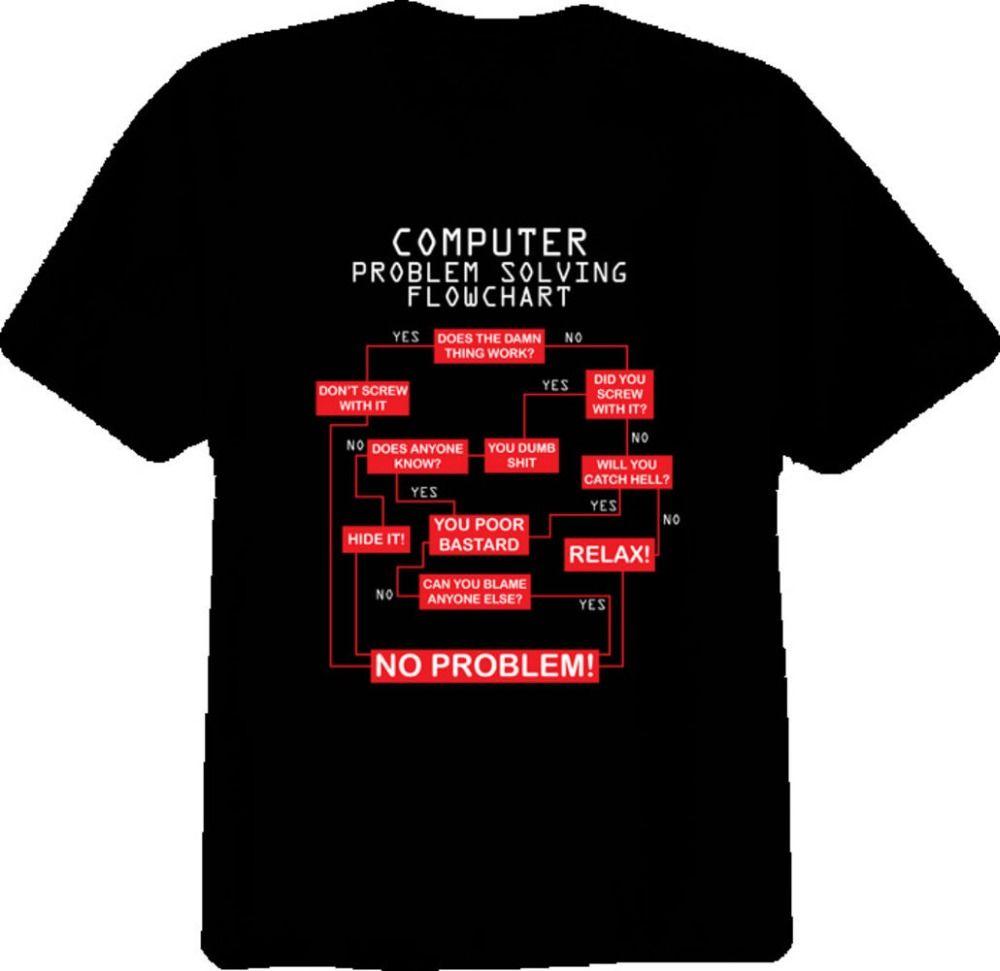 Retro T Shirts Short Sleeve Top O-Neck Mens Funny Computer ...