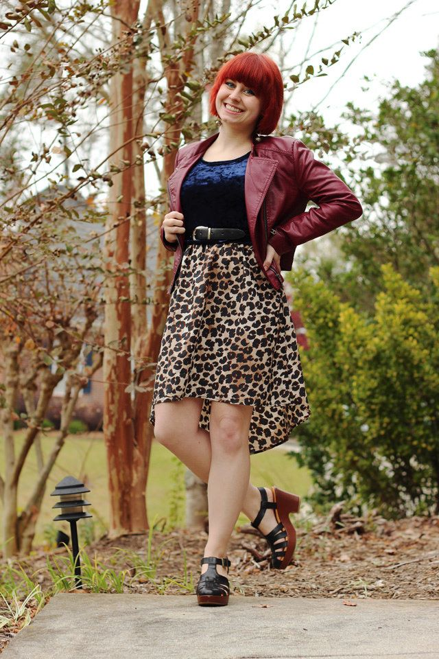 9321627de7 Outfit  Burgundy Leather Jacket and a Crushed Velvet Top Layered ...