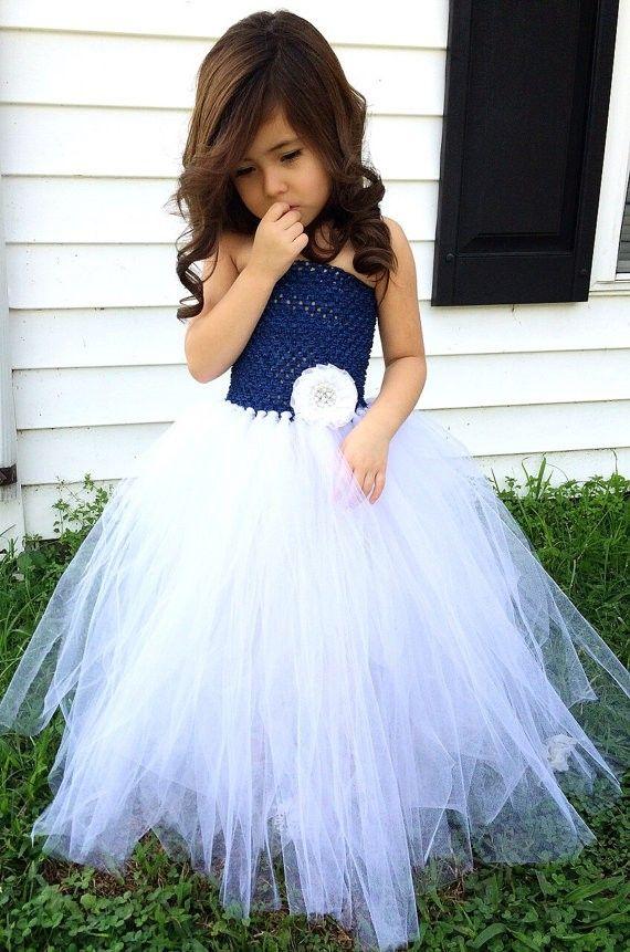 Navy blue and white flower girl wedding tutu dress flower girl navy blue and white flower girl wedding tutu dress mightylinksfo