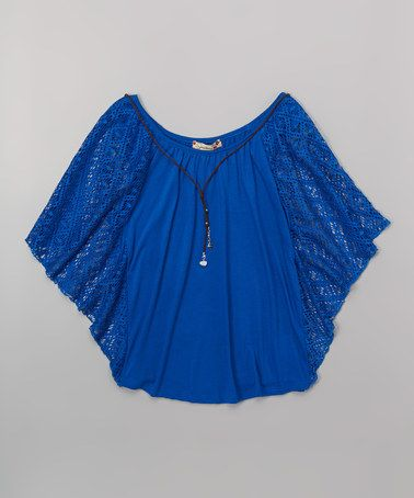 441b18de16 Another great find on  zulily! Royal Blue Lace Cape-Sleeve Top   Necklace