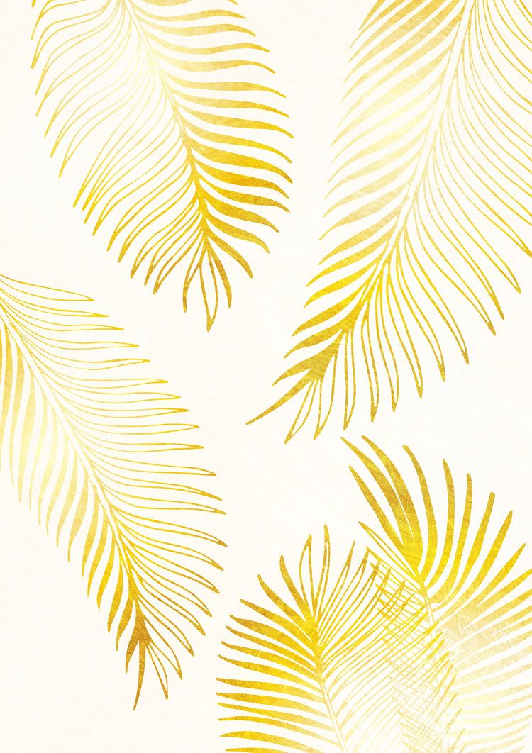 Gold Palm Leaf Print Gold Palm Leaf Art Gold Wall Art Gold Prints ...