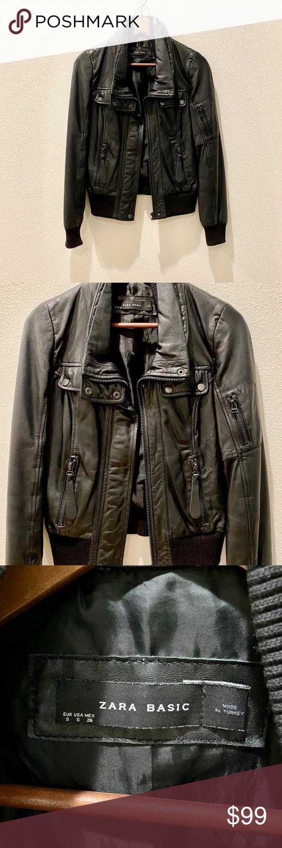 Vintage Zara Genuine Leather Biker Jacket S Zara Leather Zara Winter Jacket Vegan Leather Moto Jacket [ 1740 x 580 Pixel ]