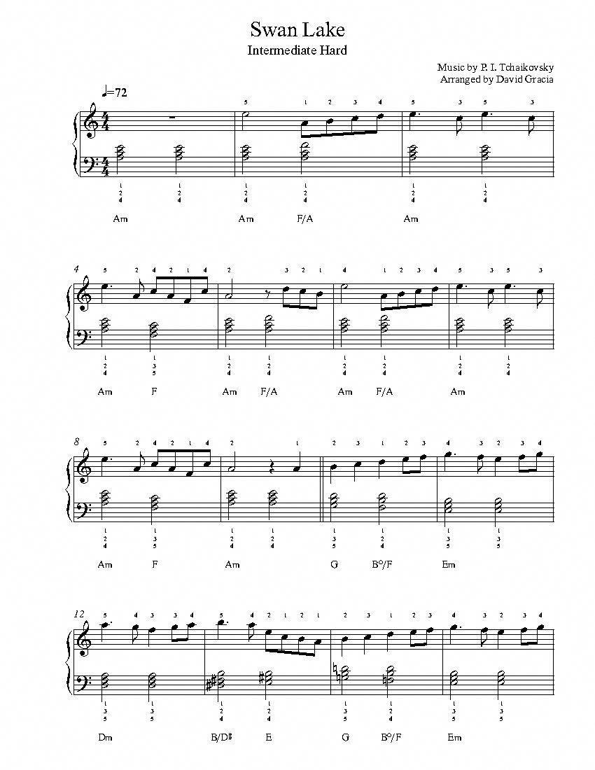 Swan Lake By P I Tchaikovsky Piano Sheet Music Intermediate