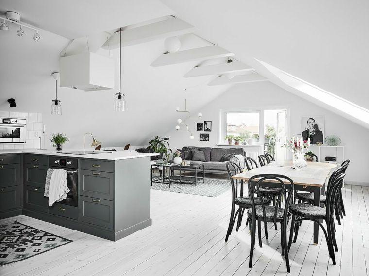 pavimento in parquet chiaro open space cucina soggiorno ...