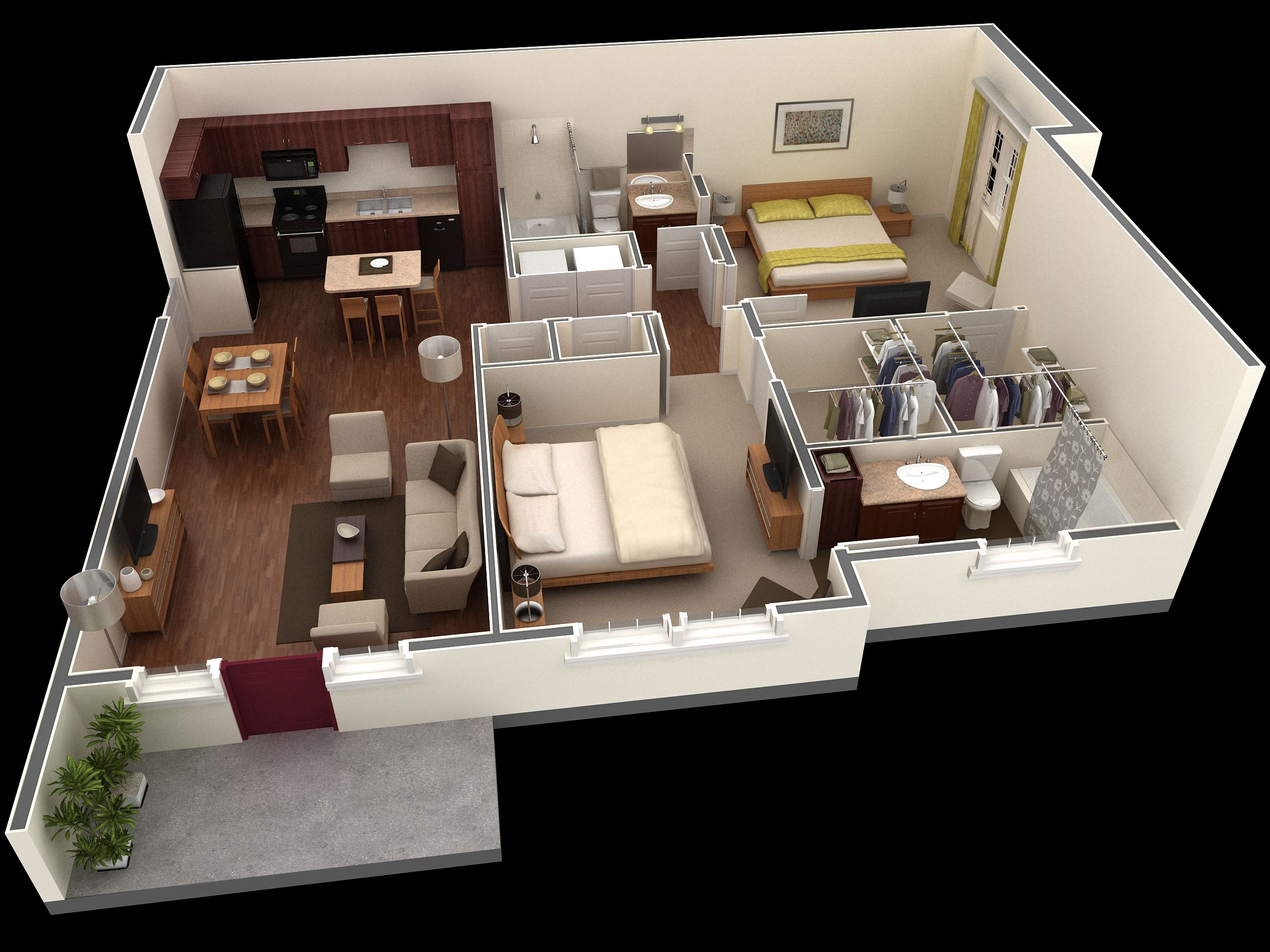 Best Of 3d Layout Of 1000 Sq Ft House 2bhk House Plan Apartment
