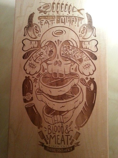 Reminds me of something Mike Perry would do: Skateboard Deck by Burak Åžentürk