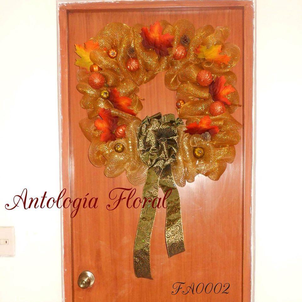 Arreglo de oto o para puerta con hojas de maple artificiales y figuras de hielo seco mo o de - Arreglo de puertas de madera ...