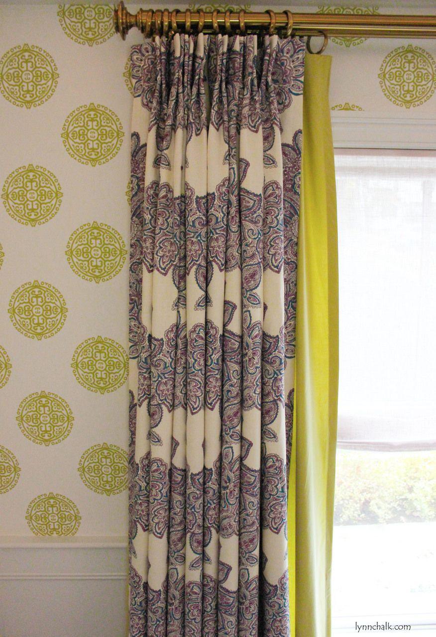 Thibaut Halie Circle Wallpaper Green T36171. Custom Drapes by Lynn Chalk in Duralee Maris Currant