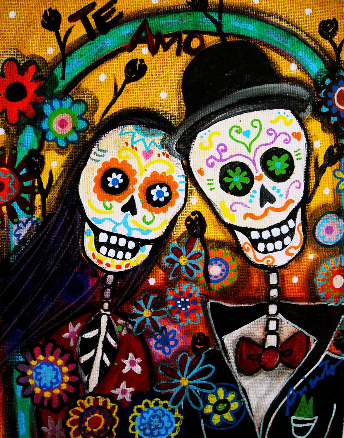 Mexican Day Of The Dead Folk Art Wedding Bride Painting PRINT 1200 Via Etsy