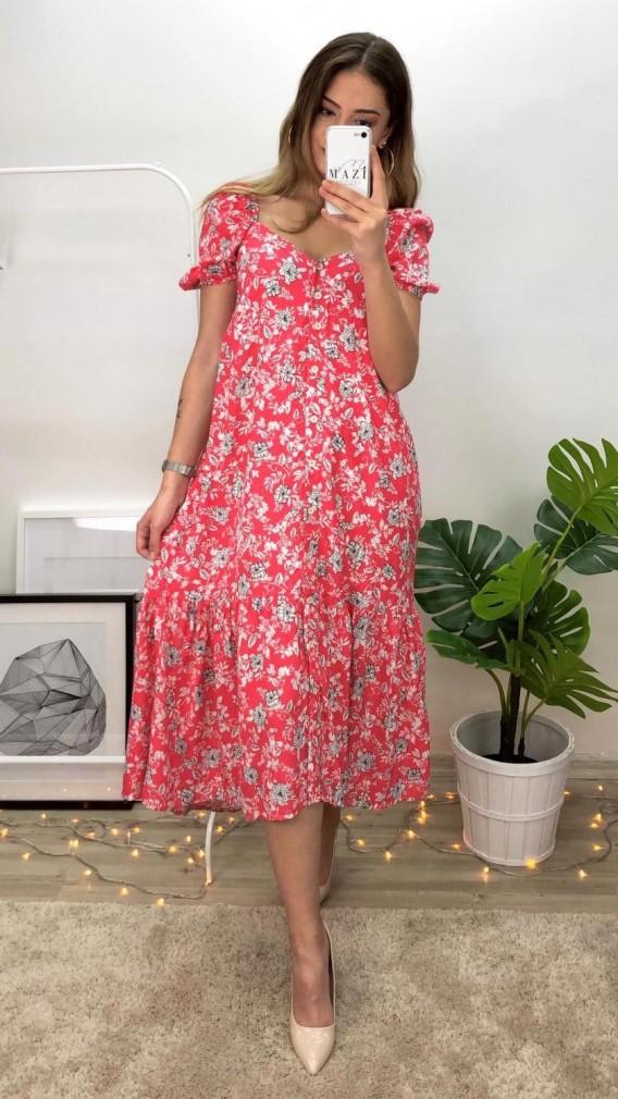 Boydan Dugmeli Cicekli Midi Elbise Kirmizi Elbise Midi Elbise Elbise Modelleri