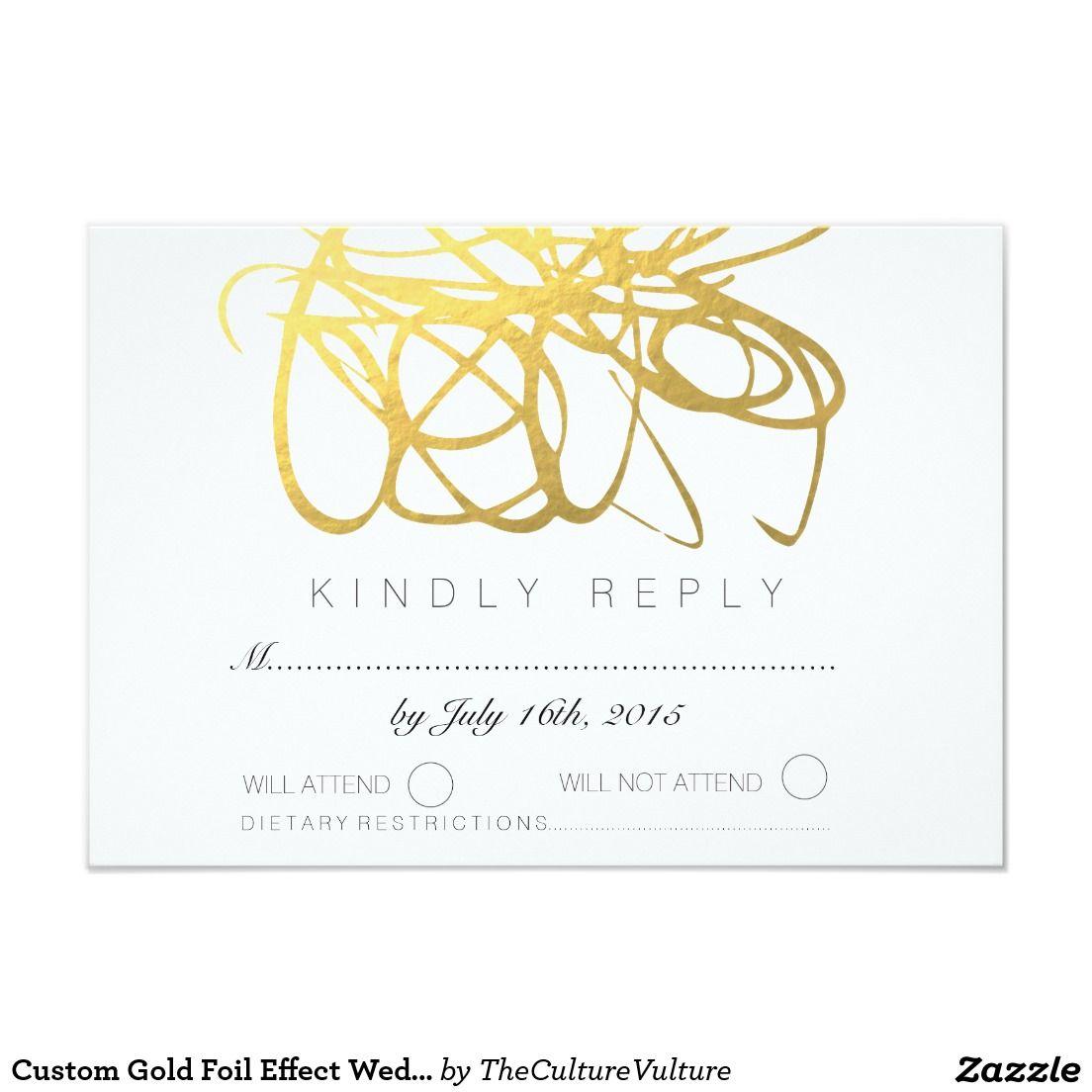 Custom Gold Foil Effect Wedding RSVP Reply Card | Gold Wedding ...