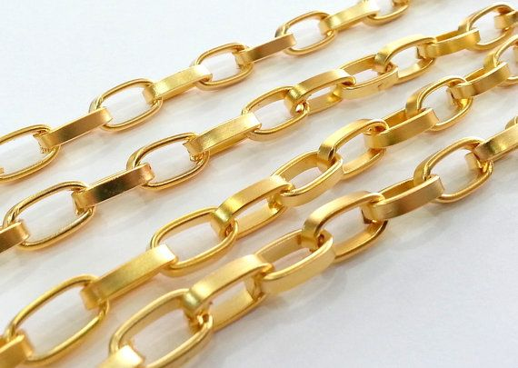 Gold Plated  Large Chain   1 Meter - 3.3 Feet  (13x8 mm) G2442