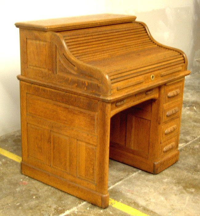 Antique Standard Company Oak Roll Top Desk Antique Desk Desk Roll Top Desk