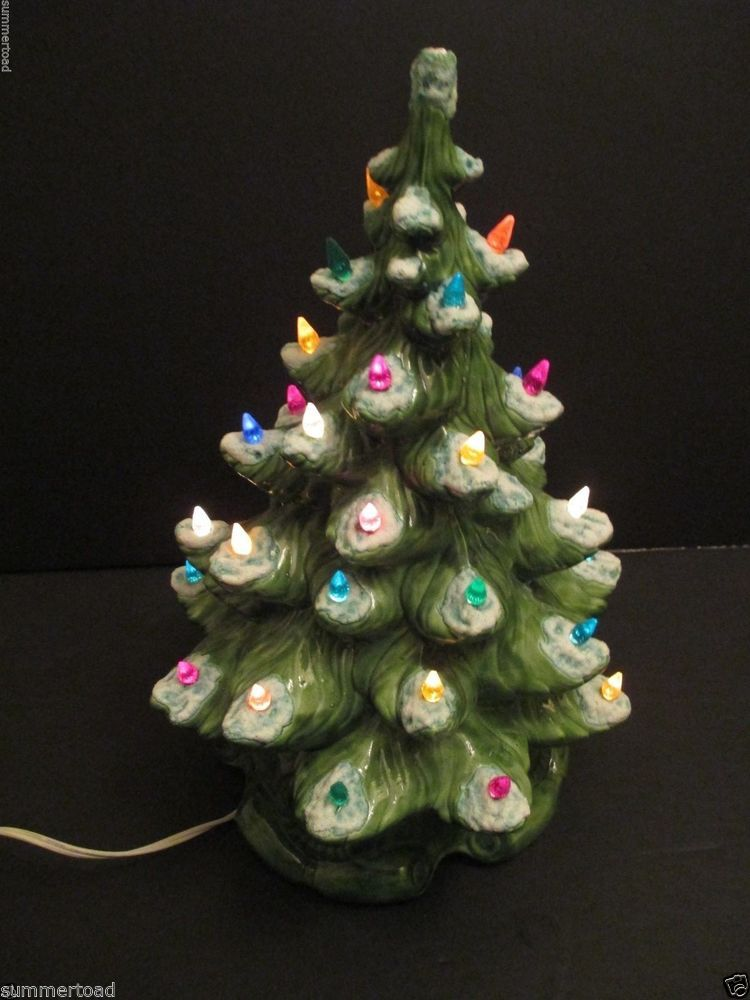 ceramic christmas tree green with plastic lights snow 160 high vtg 1970s unknown