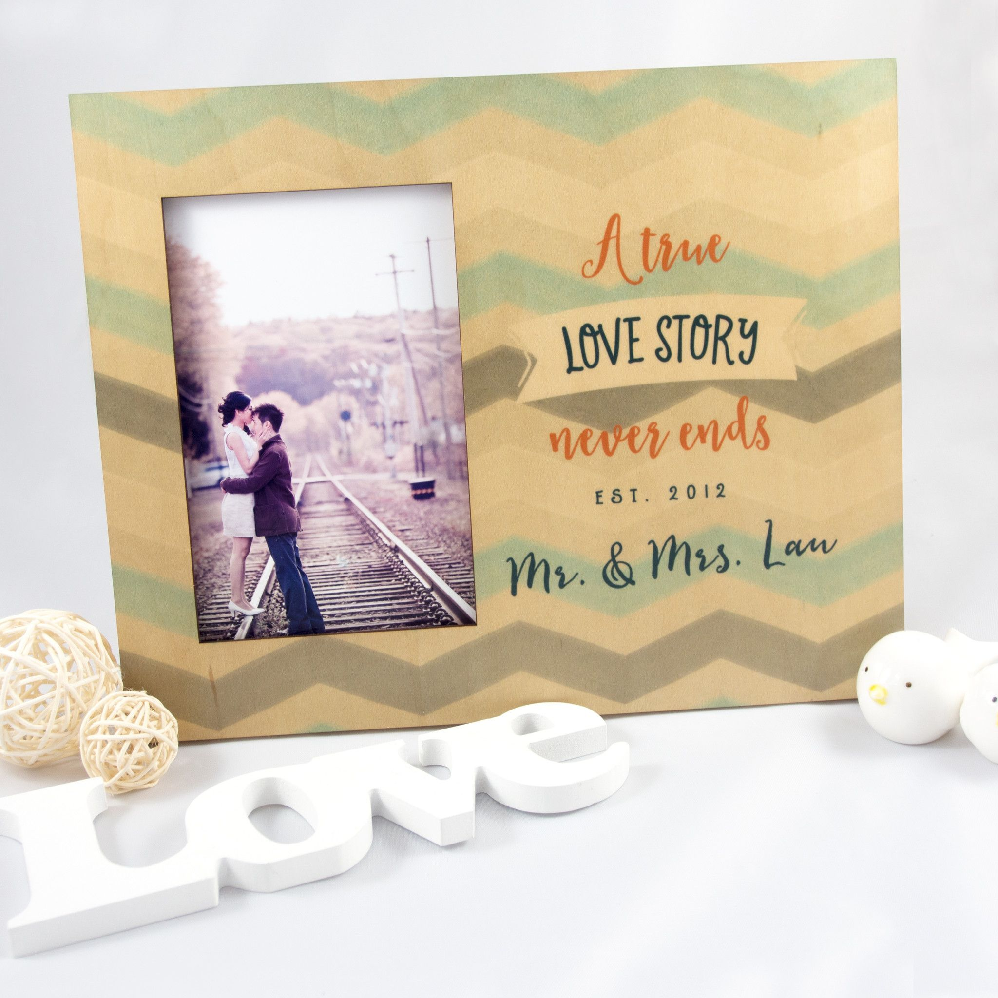 Personalized Wood Photo Frame - Love Story
