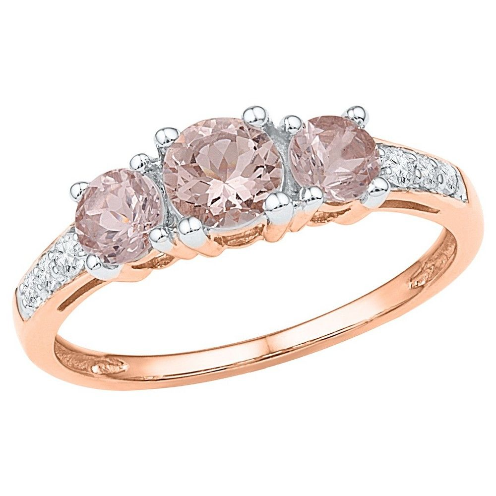 1/10 CT. T.W. Women's Round Diamond and Morganite Prong Set Fashion Ring in 10K Pink Gold (