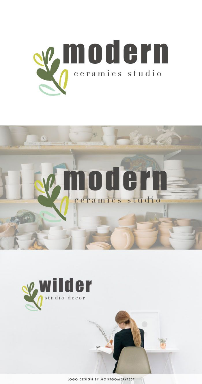 Premade Logo Design // modern blog logo design for the stylish website and business cards. featuring a botanical flourish for an organic branding.