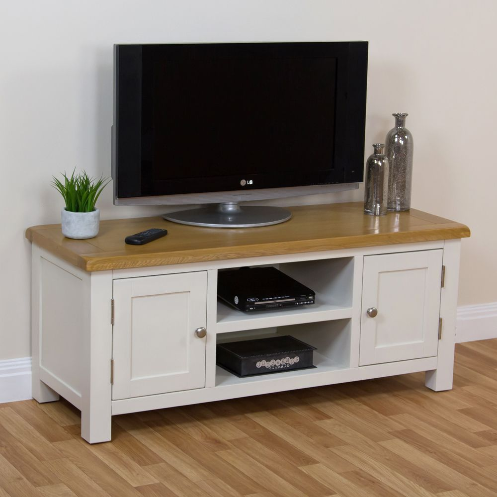 Cotswold Cream Painted Large Widescreen TV Unit with Oak Top
