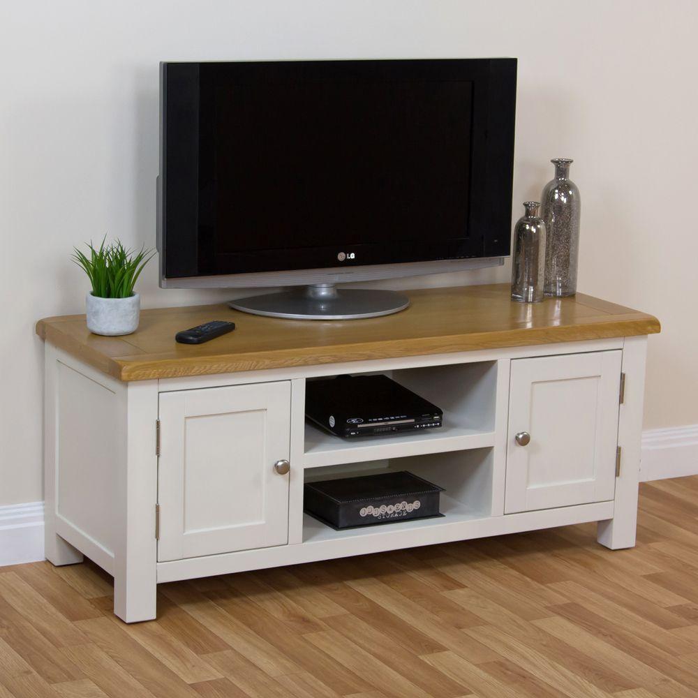 Superior White Oak Tv Unit Part - 9: Cotswold Cream Painted Large Widescreen TV Unit With Oak Top