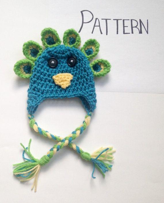 PATTERN** Crochet Peacock Hat Pattern, All Sizes, Newborn to Adult ...