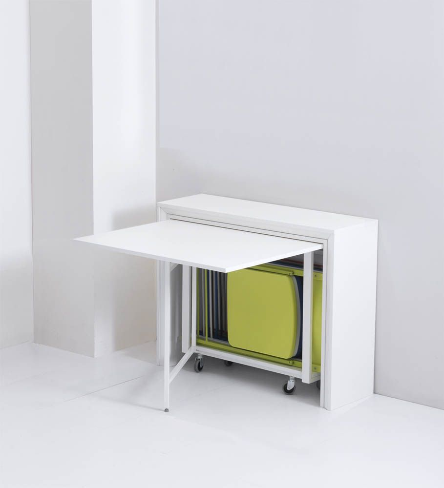 Table pliante avec 6 chaises int gr es archi table - Meuble cuisine avec table escamotable ...