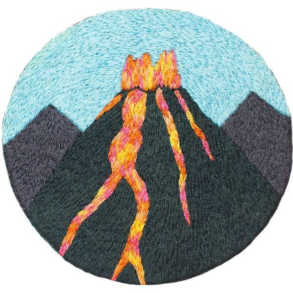 Gift for outdoor enthusiast Hand embroidered patch Volcano