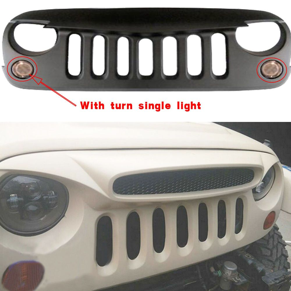 Aftermarket ABS Custom Grill WithTurn Signal Light For Jeep Wrangler JK  07-15 #TURBO