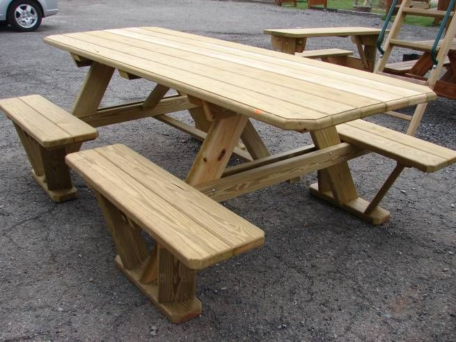 Wooden Attached Bench Picnic Tables Kauffman Marketplace Wooden Picnic Tables Picnic Table Plans Diy Picnic Table