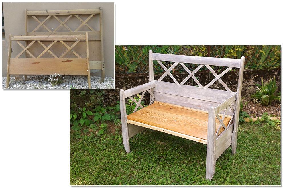 Banc de jardin fait à partir d\u0027une ancienne tête de lit Peint et - vernir un meuble peint