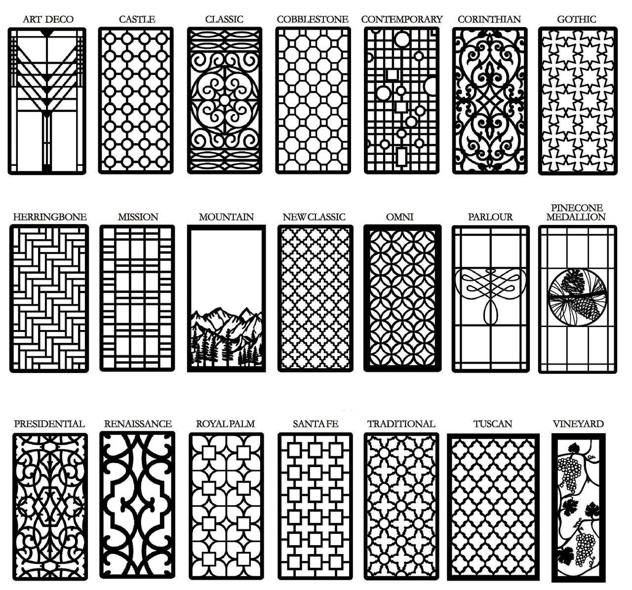 Decorative cabinet window door insert grilles living for Metal window designs
