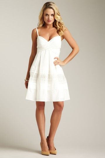 707362e63383 I am such a sucker for white lacy summer dresses with a sweetheart neckline  .... so pretty