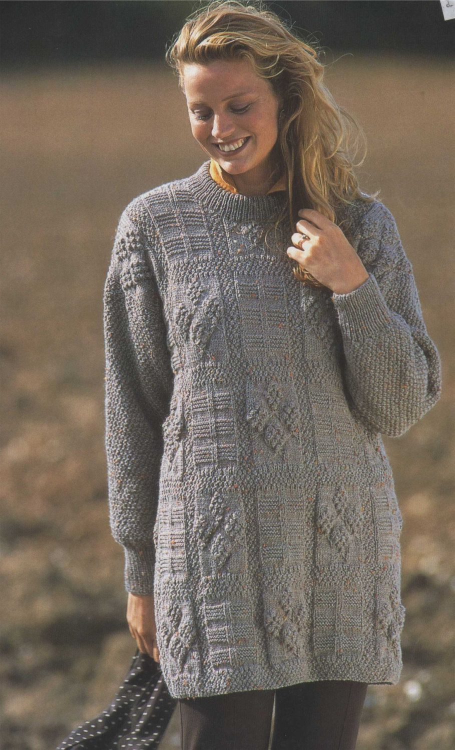 Womens Tunic Sweater PDF Knitting Pattern : Long Jumper ...
