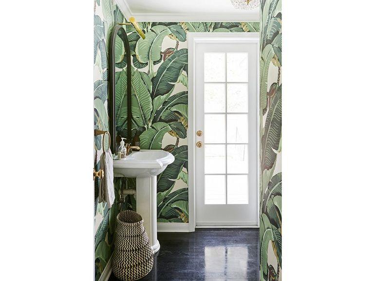 Rta da parati in bagno rivestimento a parete foglie verdi